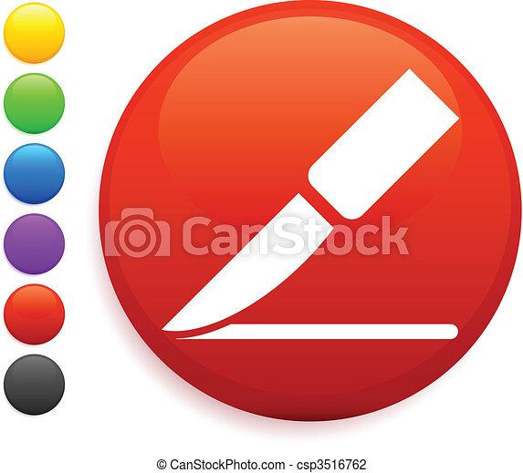 scalpel icon on round internet button - csp3516762