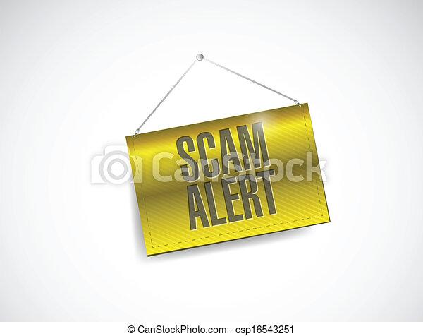 scam alert hanging banner illustration design - csp16543251