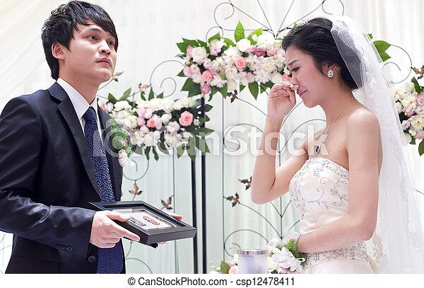 scambio, coppia, voti, giovane, loro, giorno matrimonio - csp12478411