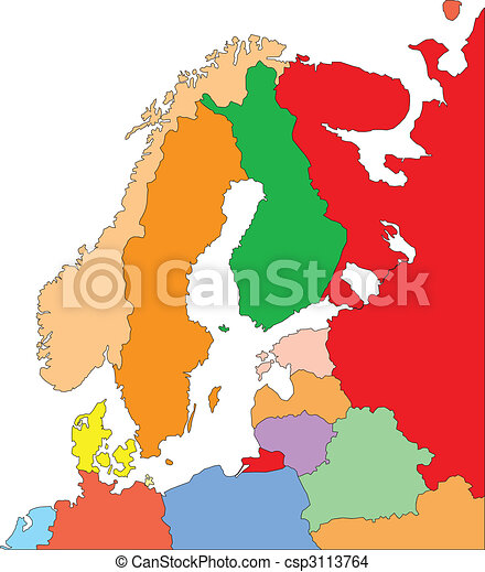 Scandanavia with Editable Countries - csp3113764