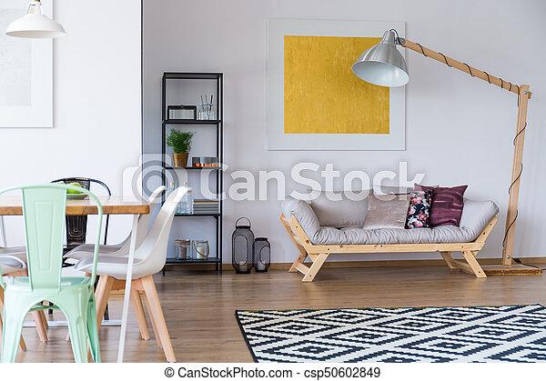 Scandi, wohnzimmer, teppich. Lebensunterhalt, entwerfer, zimmer ...