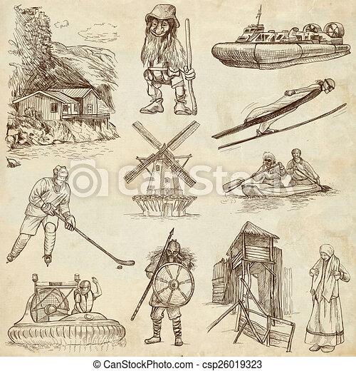 Scandinavia travel - An hand drawn pack - csp26019323