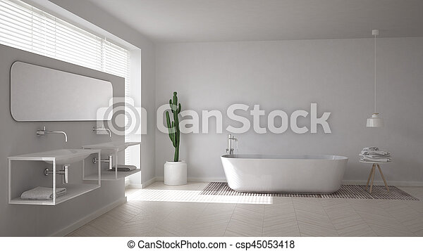 Scandinavian bathroom, white minimalistic interior design - csp45053418