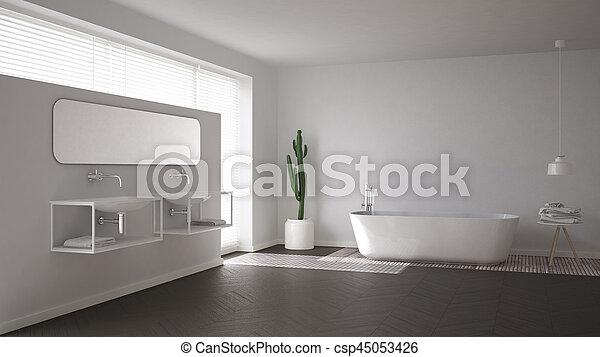 Scandinavian bathroom, white minimalistic interior design - csp45053426