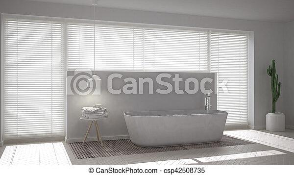Scandinavian bathroom, white minimalistic interior design - csp42508735