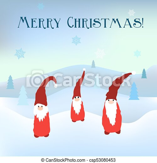 Christmas Gnomes.Scandinavian Christmas Gnomes In Winter Background
