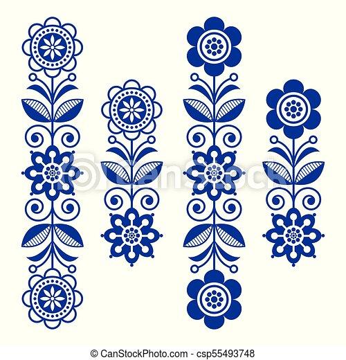 Scandinavian Floral Design Elements Folk Art Patterns Long