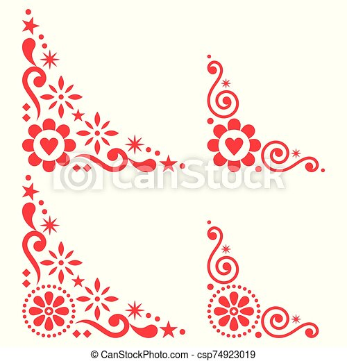 scandinavian floral vector corner set folk design elements with flowers in red on white background retro cute floral https www canstockphoto com scandinavian floral vector corner set 74923019 html