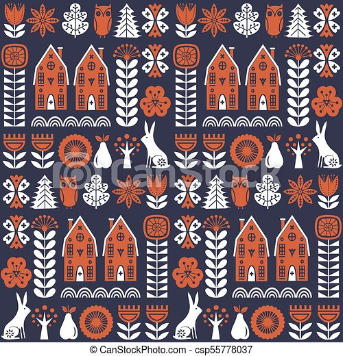 Scandinavian Folk Art Seamless Vector Pattern With Flowers Trees Rabbit Owl Houses And Rural Scenery In Simple Style