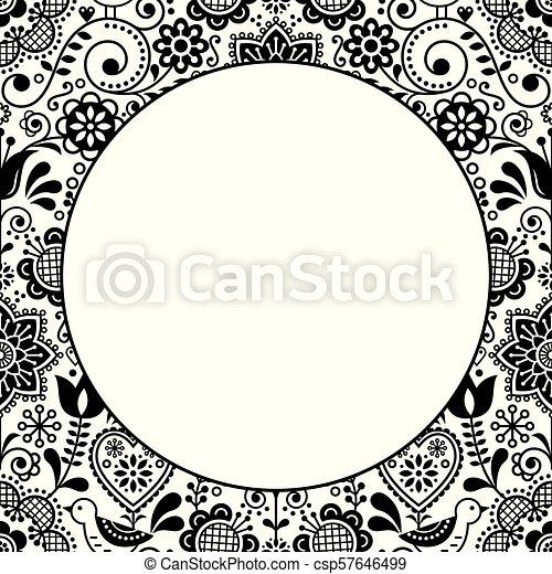 Scandinavian Folk Heart Design Greeting Card Or Birthday Or Wedding