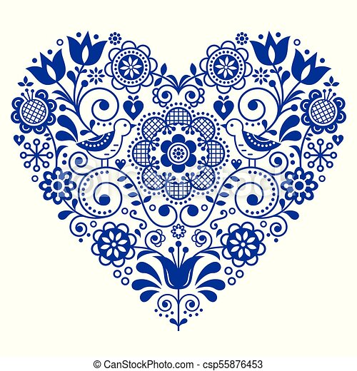 Scandinavian Folk Heart Vector Design Valentines Day Birthday Or