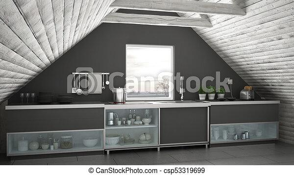 Scandinavian industrial kitchen loft mezzanine roof architecture white and gray interior design - csp53319699 & Scandinavian industrial kitchen loft mezzanine roof architecture ...