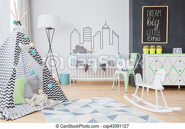 Scandinavian inspirations for a little adventurer's room - csp43091127