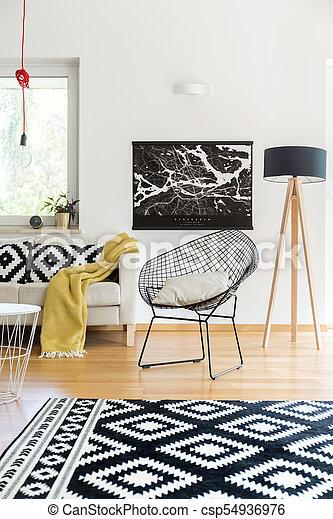 Scandinavian living room with carpet