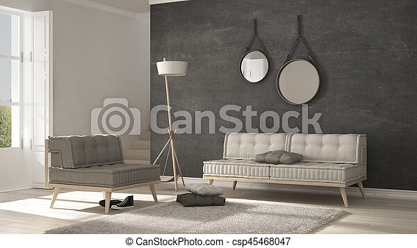 Swell Scandinavian Living Room With Couch And Soft Carpet Minimalist White And Gray Interior Design Beatyapartments Chair Design Images Beatyapartmentscom