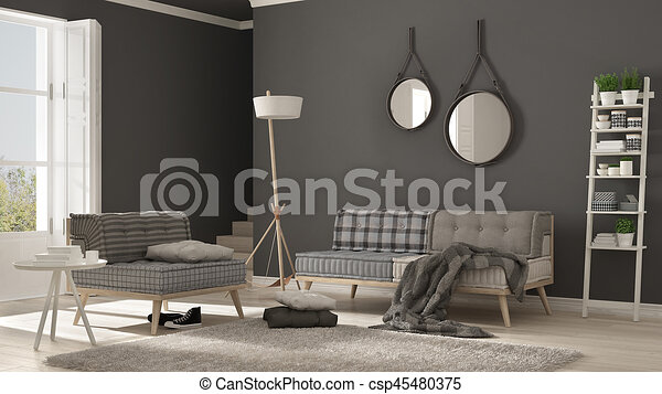 Groovy Scandinavian Living Room With Couch Armchair And Soft Fur Rug Minimalist White And Gray Interior Design Beatyapartments Chair Design Images Beatyapartmentscom
