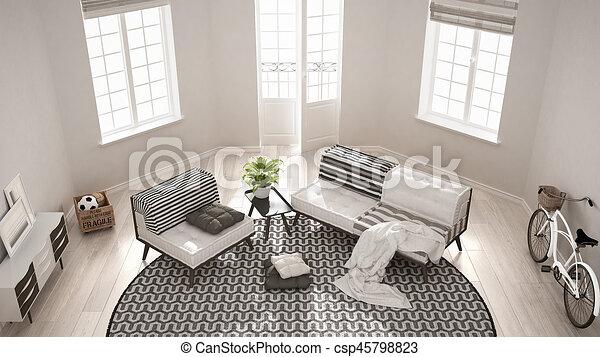 Scandinavian Minimalist Living Room With Sofa, Armchair And Carpet, Modern  Interior Design, Top