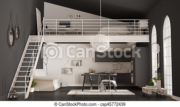 Scandinavian Minimalist Loft, One Room Apartment With Gray Kitchen, Living  And Bedroom,
