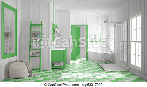 Scandinavian minimalist white and green bathroom, shower, bathtub and decors, classic vintage interior design - csp53317220