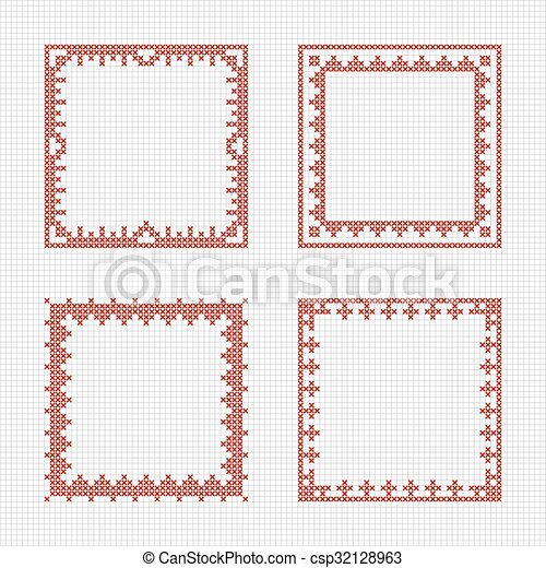 Scandinavian Style Cross Stitch Pattern Set Of Four Square Frames
