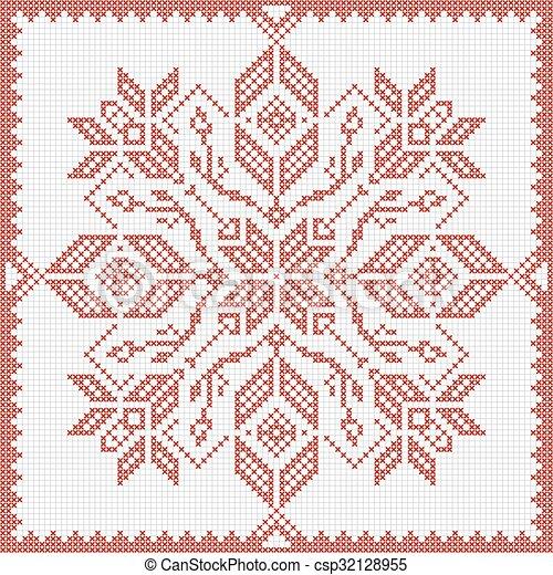 Scandinavian style cross stitch pattern - csp32128955