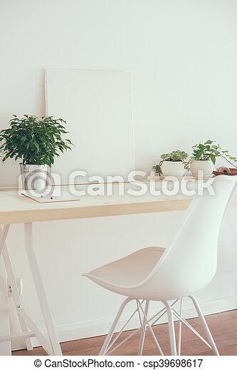 Scandinavian Style Startup Work Space White Minimalist Office Modern Business Interior Canstock