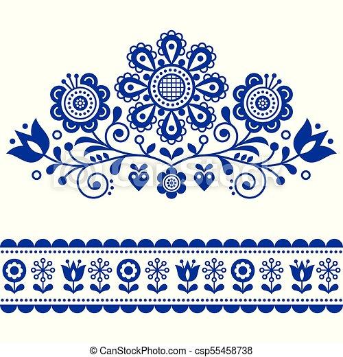 Scandinavian Vector Folk Art Pattern With Flowers Traditional