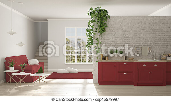 Scandinavian White And Red Minimalist Living With Kitchen, Open Space, One  Room Apartment,