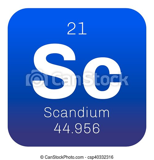 Scandium Chemical Element Rare Earth Element Colored Icon With