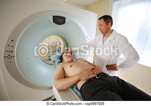 scanner., 患者, 走り読みしなさい, 医者, ねこ, 準備ができた, ct - csp5997925