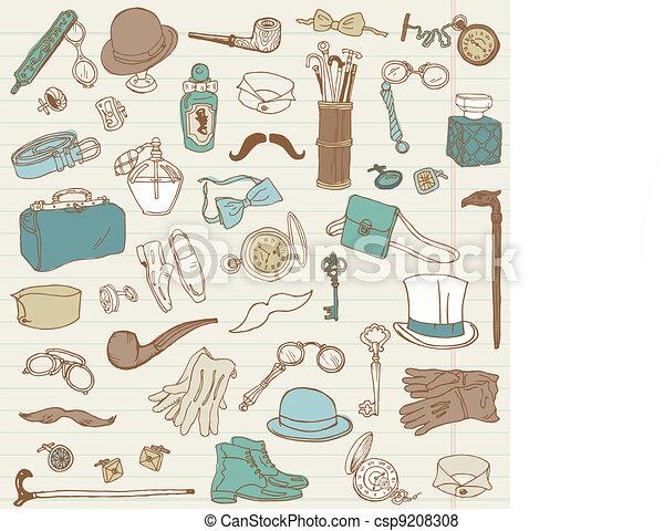 scarabocchiare, -, accessori, collezione, mano, vettore, disegnato, gentlemen's - csp9208308