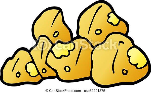 scarabocchiare, cartone animato, oro, grappoli - csp62201375