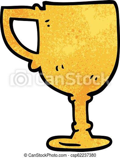 scarabocchiare, cartone animato, tazza oro - csp62237380