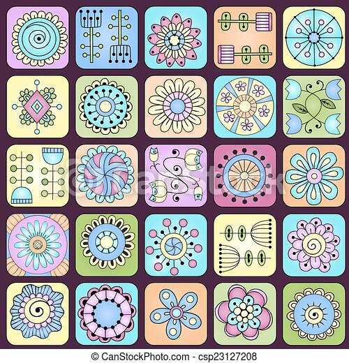 scarabocchiare, pattern., seamless, foglie, fiori, cuori - csp23127208