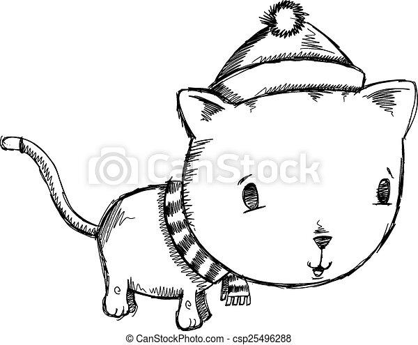 Scarabocchiare schizzo vacanza inverno gatto schizzo for Il gatto inverno