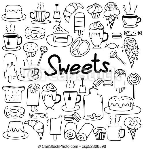 scarabocchiare, set., mano, dolci, vettore, disegnato - csp52308598