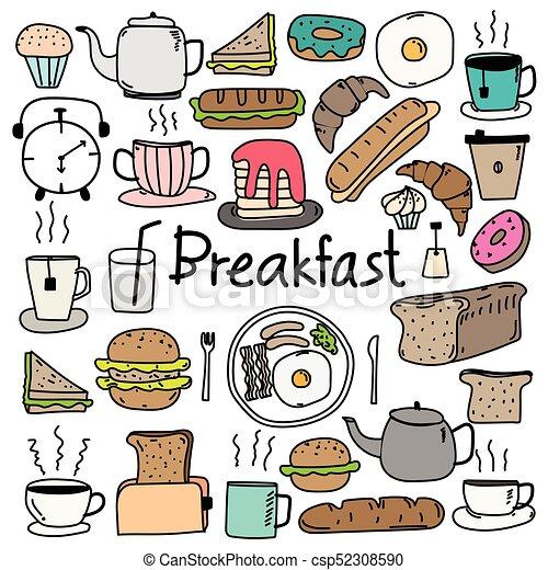 scarabocchiare, set., mano, vettore, disegnato, colazione - csp52308590