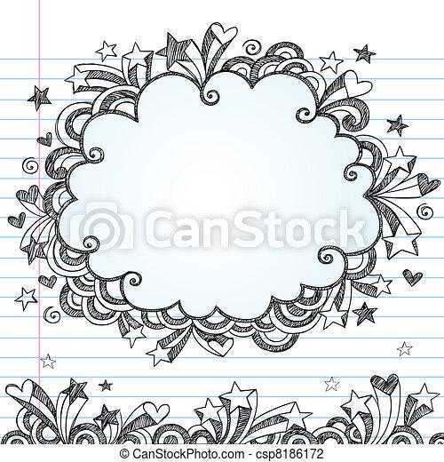 scarabocchiare, sketchy, vettore, cornice, nuvola - csp8186172