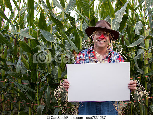scarecrow holding copy space sign - csp7831287