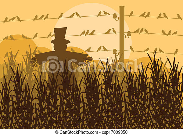 Scarecrow in corn field autumn countryside landscape background illustration - csp17009350