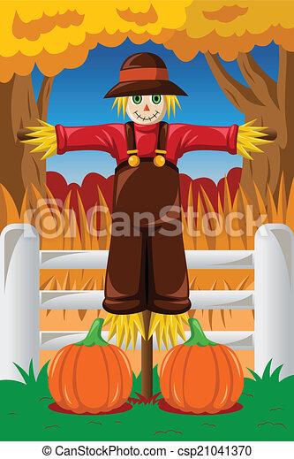 Scarecrow in the Fall season - csp21041370