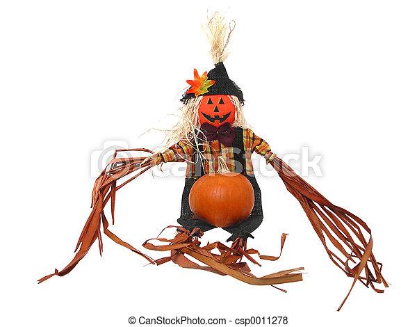 Scarecrow & Pumpkin - csp0011278