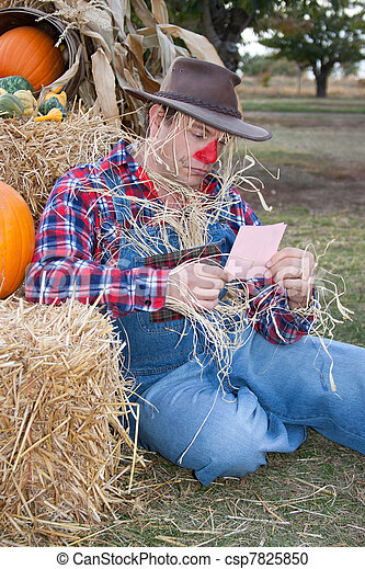 scarecrow with pink slip - csp7825850