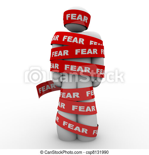 Scared Afraid Man Wrapped in Red Fear Tape - csp8131990