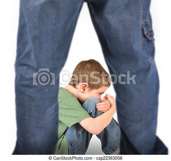 Scared Boy Afraid of Bully on White - csp22363056