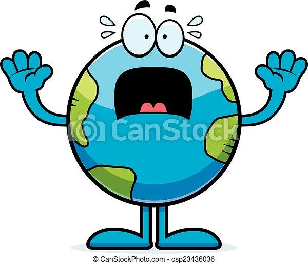scared cartoon earth a cartoon illustration of the planet earth