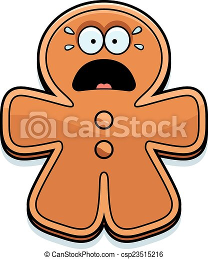 scared cartoon gingerbread man a cartoon illustration of a rh canstockphoto com gingerbread man clip art free gingerbread man clipart outline