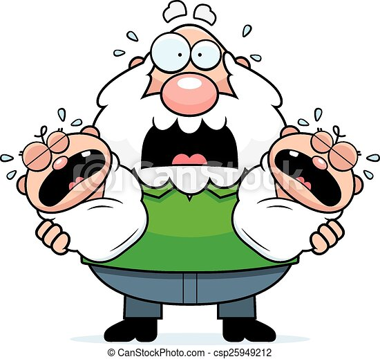 scared cartoon grandpa with twins a cartoon illustration of rh canstockphoto com grandpa clipart images grandpa clipart png