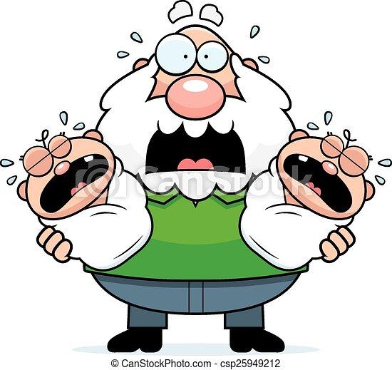 scared cartoon grandpa with twins a cartoon illustration of rh canstockphoto com grandpa clipart png grandma clipart