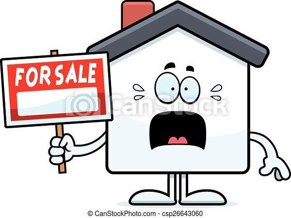 Scared Cartoon Home Sale - csp26643060